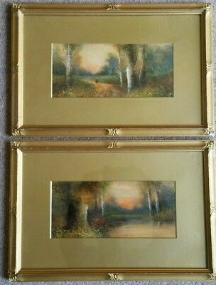 Lovely Pair English School Oil Paintings Landscapes Late 19th Early 20th Century
