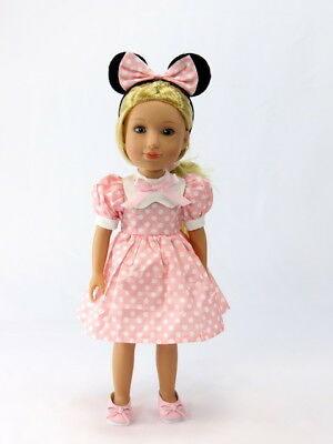 "Little Pink Mouse Dress Fits Wellie Wishers 14.5"" American Girl Clothes"