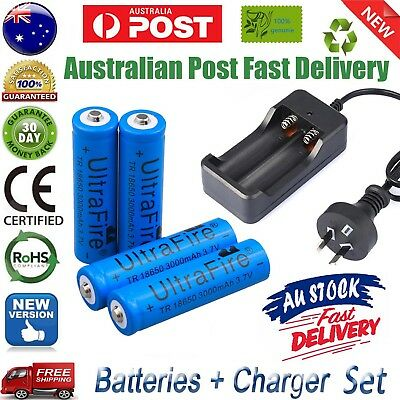Bulk Ultrafire 3.7V 3000mAh 18650 Lithium Rechargeable Battery + Free AU Charger