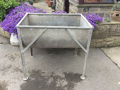 Large Weathered Vintage  Galvanised Riveted  Trough  Garden Planter
