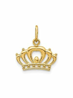 14k Yellow Gold Polished Crown Charm Pendant - 15x12mm 0.46 Grams