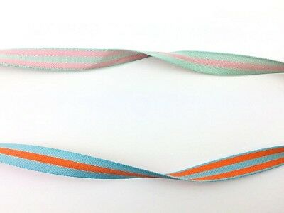 Striped Double Sided Ribbon Luxurious Gift Wrapping Turquoise Orange Pink