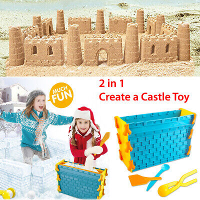 deAO 2 in 1 Snow Fort Building Block, Sand Castle Mold, Beach Castle Builder