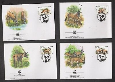 Wwf  Beisa Oryx: Eritrea, 4 Fdc, (World Wide Fund For Nature)