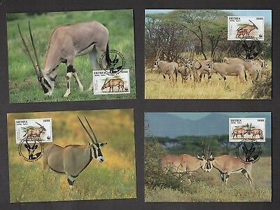 Wwf Beisa Oryx: Eritrea, 4 Max Cards, (World Wide Fund For Nature)