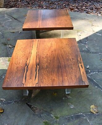 Pair of Rosewood End Tables by Milo Baughman for Thayer-Coggin Mid Century Lucit