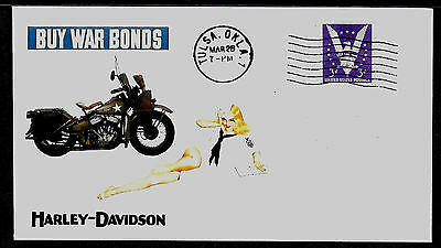 1942 Harley Davidson WWII Ad Featured on Collector's Envelope *A218