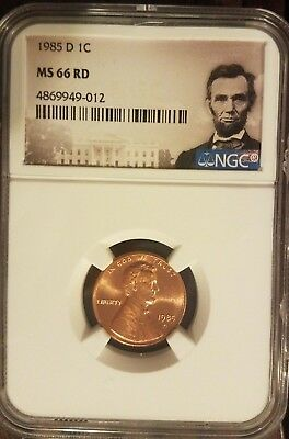 1985 D Lincoln 1c, NGC Certified MS 66 RD