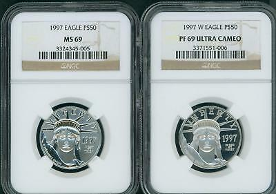 1997-P & 1997-W $50 PLATINUM EAGLE NGC MS69 & PF69 (PR69) FIRST Year 2-COINS SET