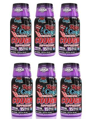 RoboCough Cough Suppressant Max Strength Shots FDA OTC Compliant 6 Bottles Robo