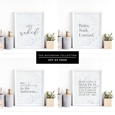 Bathroom Prints Get Naked Wall Art Print Grey Quote New Home Decor Set of Four