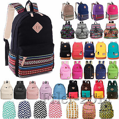 Womens Canvas Backpack Girls Rucksack Schoolbag Book Shoulder Bag Travel Satchel