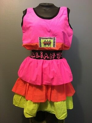 Vtg 80s 90s Ladies Neon Pink Day Glow Yellow Nylon 2-Pc Set Womens S Top Skirt