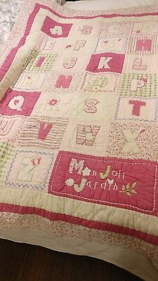 Cot bed spread quilt baby nursery beautiful cover