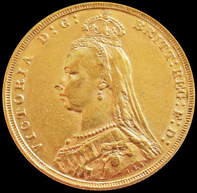 1892 Gold Great Britain Sovereign 7.98 Grams Jubilee Head Dragon Slayer Coin