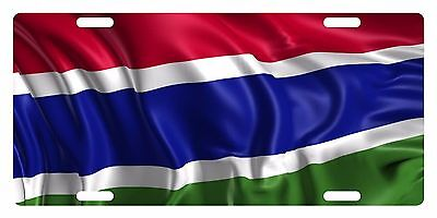 GAMBIA Flag Custom License Plate National Emblem WAVE Version
