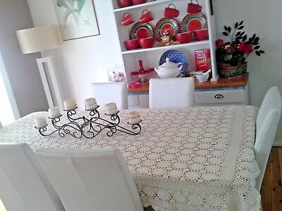 Vintage WHITE HAND CROCHET TABLECLOTH or Single BEDSPREAD OR THROW225x130cm