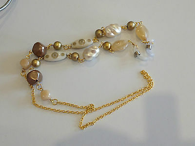 Handmade Cream and Coffee Beaded Glasses Chain