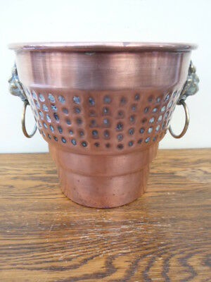 Vintage French round copper planter, plant pot, brass lions head ring handles