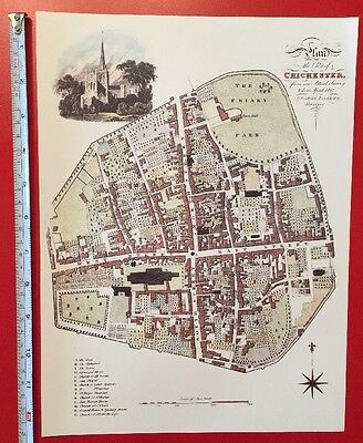 """Old Antique colour map Chichester, England: early 1800's, 1812: 12"""" x 9"""" Reprint"""