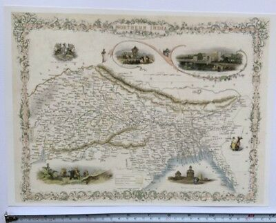 Antique vintage map 1800s: Northern India: Tallis 13 X 9 Reprint 1851c