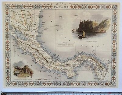 "Antique vintage colour map 1800s: Isthmus Of Panama: Tallis 13 X 9"" Reprint"