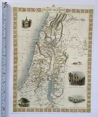 Antique vintage map 1800s: Ancient Palestine: Tallis 13 X 9 Reprint 1851c