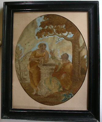 Antique 18thC Silkwork Embroidery Rebecca at the Well Original Ebonised Frame