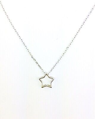 925 Sterling Silver Star Pendant Necklace on Beautiful Delicate Chain 16 -17.5""