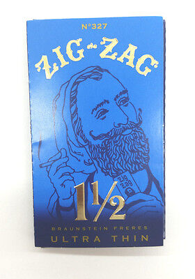 1 LOT 10 PK Zig Zag Blue Ultra Thin 1.5 1 1/2 Cigarette Rolling Paper Authentic