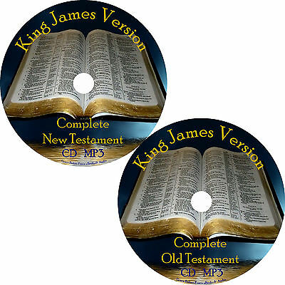 KJV Audio Bible, Complete King James Version 66 Books on 2 MP3 CDs Free Ship