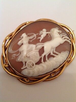 Antique Victorian Large Oval 9ct Gold Carved Shell Cameo Brooch - Circa 1880