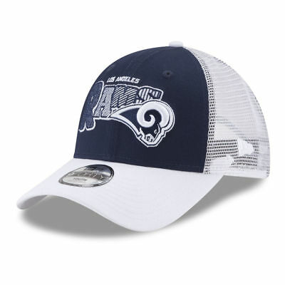 timeless design ae9a5 5cf28 LOS ANGELES RAMS NFL Kids Trucker 9FORTY Cap Hat Adjustable Youth White  Mesh LA