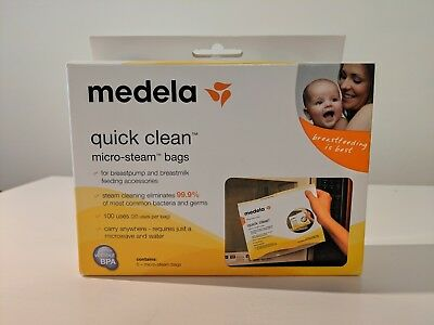 SEALED Medela Quick Clean 5 Micro-Steam Bags Microwave Sterilize 5 Total NEW NIB