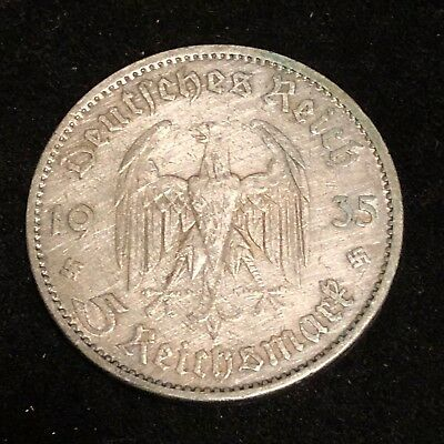 GERMAN Coin 1935 A 5 MARK Reichsmark POTSDAM Garrison CHURCH Silver 3RD WW2