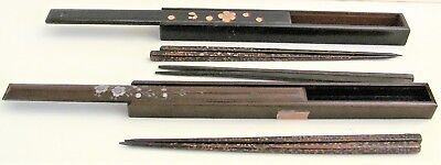 Lot 3 pairs VTG Lacquer Wood Hand Painted, MOP Inlay Inlaid Chopstick in 2 Boxes