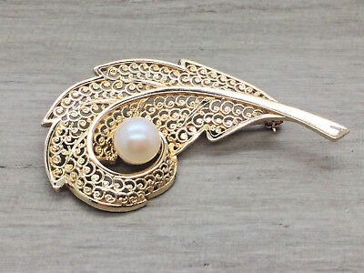 Fine 14K YELLOW GOLD 7.5 MM Pearl Filigree Branch Style Pin Brooch