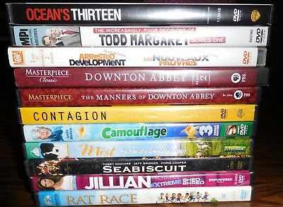 LOT OF 11 TV/MOVIE DVD's-DOWNTON ABBEY-SEA BISCUIT-TODD MARGARET-CONTAGION-MIST