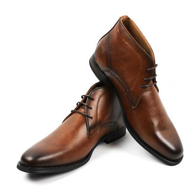 Men's Ankle Dress Boots Round Toe Lace Up Leather Luciano Santino Shoes D513