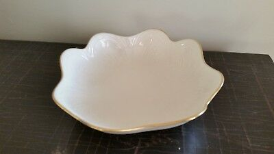 Vintage Ivory Lenox Embossed Bowl With Gold Trim ~ Scalloped