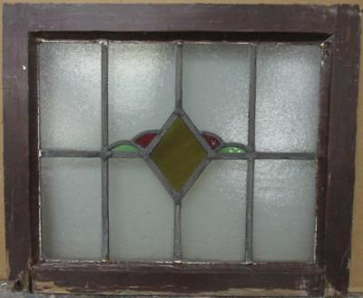 """OLD ENGLISH LEADED STAINED GLASS WINDOW Pretty Diamond Design 20.5"""" x 17"""""""