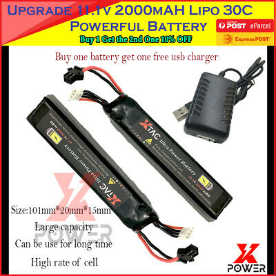 Upgrade 30C 11.1V 2000mAh Lipo Battery M4A1 SCAR V2 Gel Ball Blaster Powerful AU