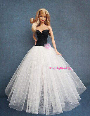 Vintage Black White Party Wedding Gown Ball Dress Clothes For Barbie Doll Gift