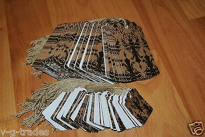 LOT 200 100 LARGE 100 SMALL Distressed Damask Print Paper Price Tags w/ String $