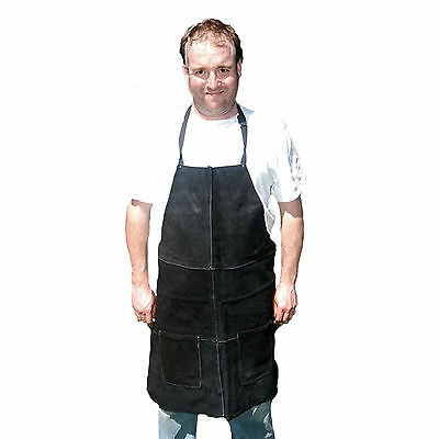 HAWK AL001A-BLK - Genuine Split Black Leather Shop Apron Wood Working Blacksmith