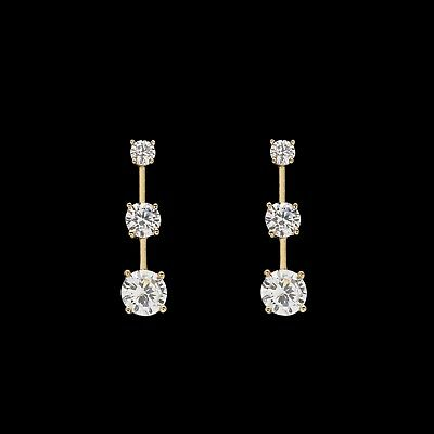 1.20CT T.W. Round Cut Created Diamond Earrings 14K Yellow Gold Graduated Studs