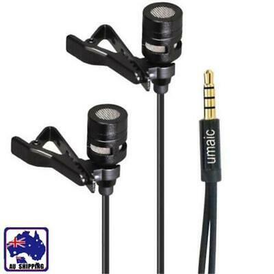 Mini Lavalier Lapel Microphone Dual Headed Recording Clip On Mic For IPhone IPad