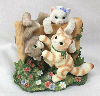 Just Hangin Around Calico Kittens Figurine Limited Ed Enesco Fence Flowers Cats
