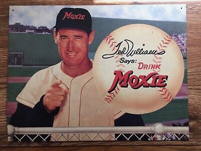 """Boston Red Sox Ted Williams says Drink Moxie 16' X 12"""" Metal Sign Advertisement"""