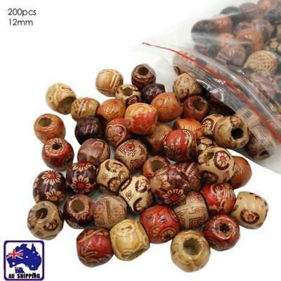 200pcs 12mm Wooden Beads Natural Color Round Ball Handmade DIY Jewelry Hair Ring